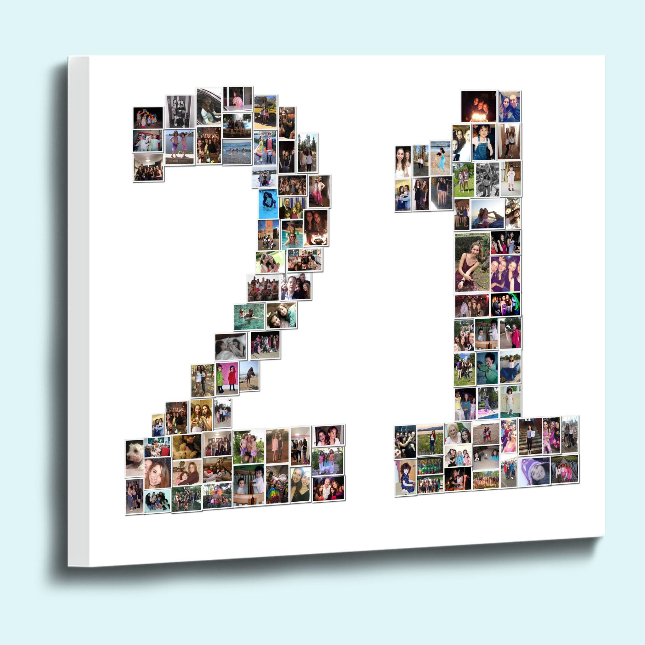 Personalised number shape photo collage framed canvas print 18mm deep